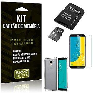 Kit Galaxy J6 (2018) Cartão Memória 32 GB + Capinha Antishock + Película Vidro - Armyshield