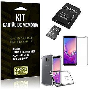 Kit Galaxy J6 Plus (2018) Cartão Memória 32 GB + Capinha Antishock + Película Vidro - Armyshield