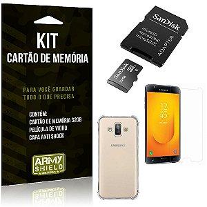 Kit Galaxy J7 Duo (2018) Cartão Memória 32 GB + Capinha Antishock + Película Vidro - Armyshield