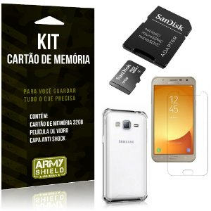 Kit Galaxy J7 Neo (2017) Cartão Memória 32 GB + Capinha Antishock + Película Vidro - Armyshield