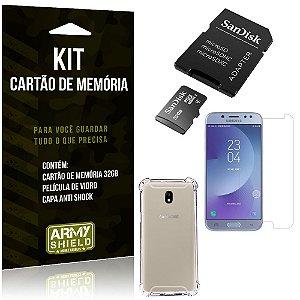 Kit Galaxy J7 Pro (2017) Cartão Memória 32 GB + Capinha Antishock + Película Vidro - Armyshield