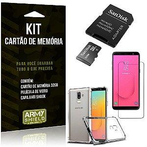 Kit Galaxy J8 (2018) Cartão Memória 32 GB + Capinha Antishock + Película Vidro - Armyshield