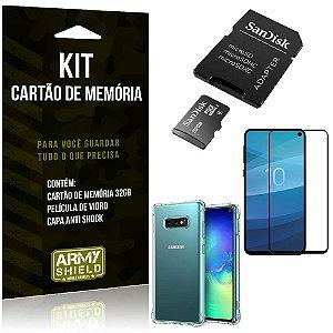 Kit Galaxy S10e Cartão Memória 32 GB + Capinha Antishock + Película Vidro - Armyshield
