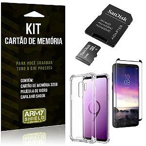 Kit Galaxy S9 Plus Cartão Memória 32 GB + Capinha Antishock + Película Vidro - Armyshield
