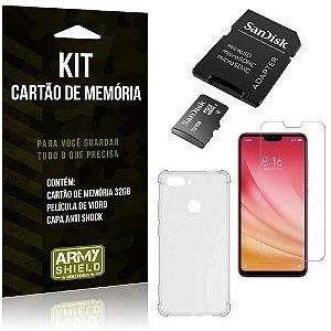 Kit Mi 8 Lite Cartão Memória 32 GB + Capinha Antishock + Película Vidro - Armyshield