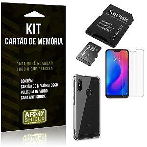Kit Mi A2 Lite (Redmi 6 Pro) Cartão Memória 32 GB + Capinha Antishock + Película Vidro - Armyshield