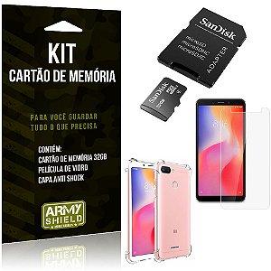 Kit Redmi 6 Cartão Memória 32 GB + Capinha Antishock + Película Vidro - Armyshield