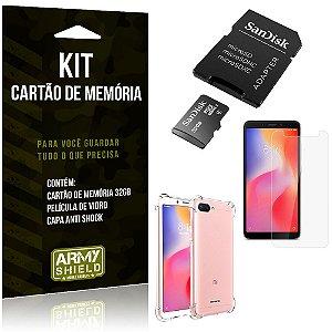 Kit Redmi 6A Cartão Memória 32 GB + Capinha Antishock + Película Vidro - Armyshield