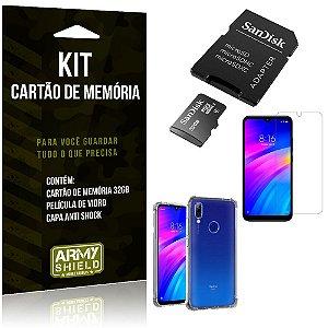 Kit Redmi 7 Cartão Memória 32 GB + Capinha Antishock + Película Vidro - Armyshield