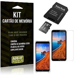 Kit Redmi 7A Cartão Memória 32 GB + Capinha Antishock + Película Vidro - Armyshield