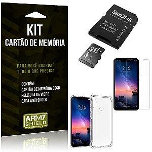 Kit Redmi Note 6 Pro Cartão Memória 32 GB + Capinha Antishock + Película Vidro - Armyshield