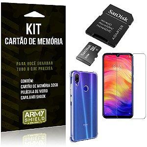 Kit Redmi Note 7 - Note 7 Pro Cartão Memória 32 GB + Capinha Antishock + Película Vidro - Armyshield