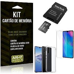Kit Huawei P30 Lite Cartão Memória 32 GB + Capinha Antishock + Película Vidro - Armyshield