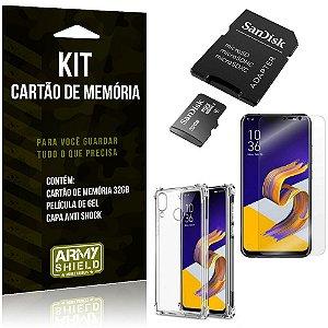 Kit Zenfone 5Z ZS620KL Cartão Memória 32 GB + Capinha Antishock + Película Gel - Armyshield