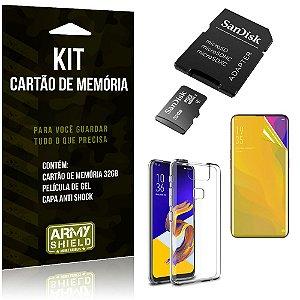 Kit Zenfone 6 ZS630KL Cartão Memória 32 GB + Capinha Antishock + Película Gel - Armyshield