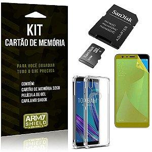 Kit Zenfone Max Pro M1 ZB602KL Cartão Memória 32 GB + Capinha Antishock + Película Gel - Armyshield