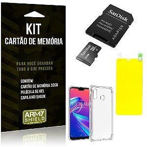 Kit Zenfone Max Pro M2 ZB631KL Cartão Memória 32 GB + Capinha Antishock + Película Gel - Armyshield