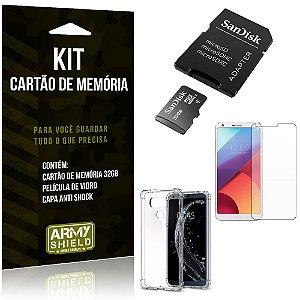 Kit LG G6 Cartão Memória 32 GB + Capinha Antishock + Película Vidro - Armyshield
