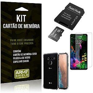 Kit LG G8S Cartão Memória 32 GB + Capinha Antishock + Película Vidro - Armyshield