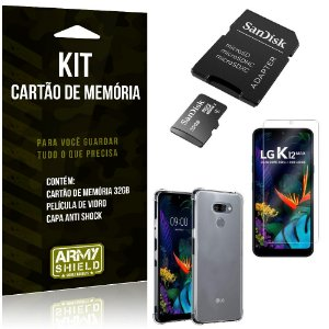 Kit LG K12 Max Cartão Memória 32 GB + Capinha Antishock + Película Vidro - Armyshield