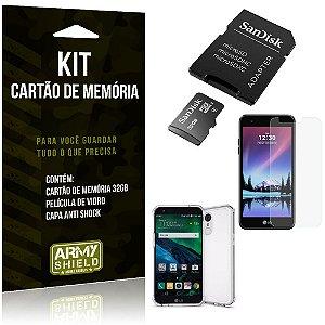 Kit LG K4 Novo Cartão Memória 32 GB + Capinha Antishock + Película Vidro - Armyshield