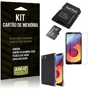 Kit LG Q6/Q6 Plus Cartão Memória 32 GB + Capinha Antishock + Película Vidro - Armyshield