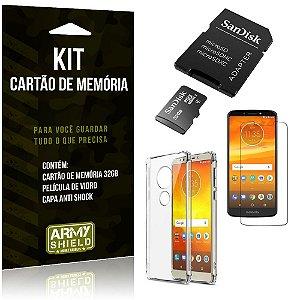 Kit Moto E5 Plus Cartão Memória 32 GB + Capinha Antishock + Película Vidro - Armyshield
