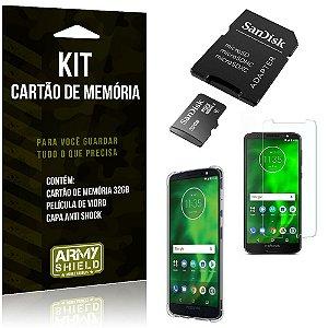 Kit Moto G6 Cartão Memória 32 GB + Capinha Antishock + Película Vidro - Armyshield