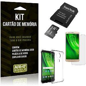 Kit Moto G6 Play Cartão Memória 32 GB + Capinha Antishock + Película Vidro - Armyshield