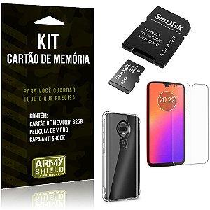 Kit Moto G7 Cartão Memória 32 GB + Capinha Antishock + Película Vidro - Armyshield