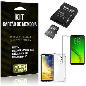 Kit Moto G7 Power Cartão Memória 32 GB + Capinha Antishock + Película Vidro - Armyshield
