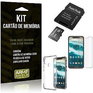 Kit Moto One Cartão Memória 32 GB + Capinha Antishock + Película Vidro - Armyshield