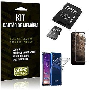 Kit Moto One Action Cartão Memória 32 GB + Capinha Antishock + Película Vidro - Armyshield