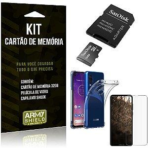 Kit Moto One Vision Cartão Memória 32 GB + Capinha Antishock + Película Vidro - Armyshield