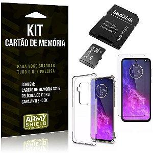 Kit Moto One Zoom Cartão Memória 32 GB + Capinha Antishock + Película Vidro - Armyshield