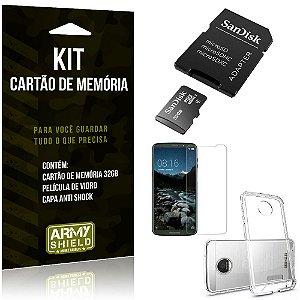 Kit Moto Z3 Play Cartão Memória 32 GB + Capinha Antishock + Película Vidro - Armyshield