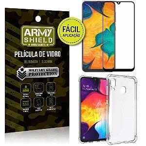 Kit Película 3D Fácil Aplicação Samsung Galaxy A30 Película 3D + Capa Anti Impacto - Armyshield