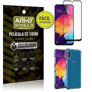 Kit Película 3D Fácil Aplicação Samsung Galaxy A50 Película 3D + Capa Anti Impacto - Armyshield