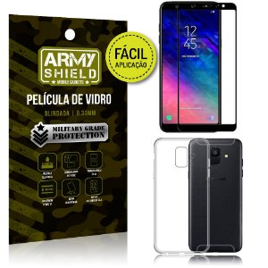 Kit Película 3D Fácil Aplicação Samsung Galaxy A6 Película 3D + Capa Anti Impacto - Armyshield