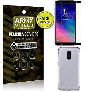 Kit Película 3D Fácil Aplicação Samsung Galaxy A6 Plus Película 3D + Capa Anti Impacto - Armyshield