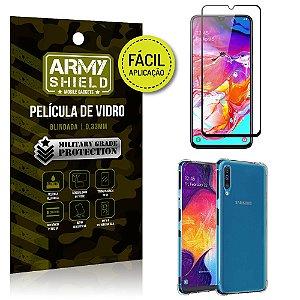 Kit Película 3D Fácil Aplicação Samsung Galaxy A70 Película 3D + Capa Anti Impacto - Armyshield