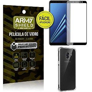 Kit Película 3D Fácil Aplicação Samsung Galaxy A8 Película 3D + Capa Anti Impacto - Armyshield
