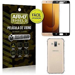 Kit Película 3D Fácil Aplicação Galaxy J7 Duo (2018) Película 3D + Capa Anti Impacto - Armyshield