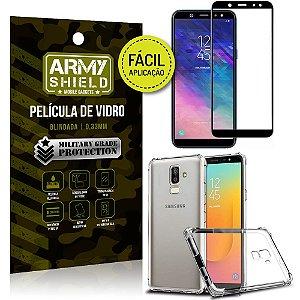 Kit Película 3D Fácil Aplicação Galaxy J8 (2018) Película 3D + Capa Anti Impacto - Armyshield