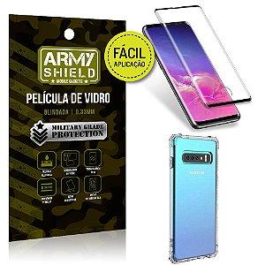 Kit Película 3D Fácil Aplicação Samsung Galaxy S10 Película 3D + Capa Anti Impacto - Armyshield