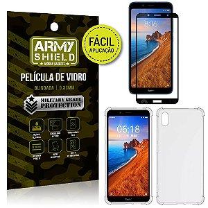 Kit Película 3D Fácil Aplicação Xiaomi Redmi 7A Película 3D + Capa Anti Impacto - Armyshield