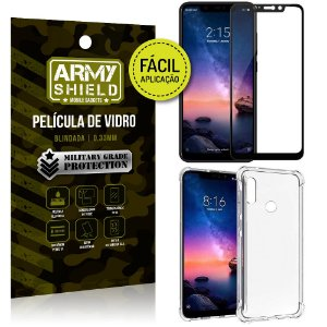 Kit Película 3D Fácil Aplicação Xiaomi Redmi Note 6 Pro Película 3D + Capa Anti Impacto - Armyshield
