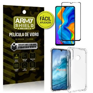Kit Película 3D Fácil Aplicação Huawei P30 Lite Película 3D + Capa Anti Impacto - Armyshield