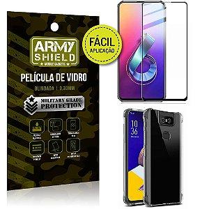 Kit Película 3D Fácil Aplicação Zenfone 6 ZS630KL Película 3D + Capa Anti Impacto - Armyshield