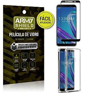 Kit Película 3D Fácil Aplicação Zenfone Max Pro M1 ZB602KL + Capa Anti Impacto - Armyshield